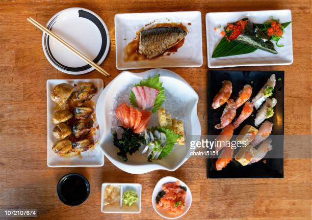 Japanese food on the table for healthy by fish, shrimp and egg.