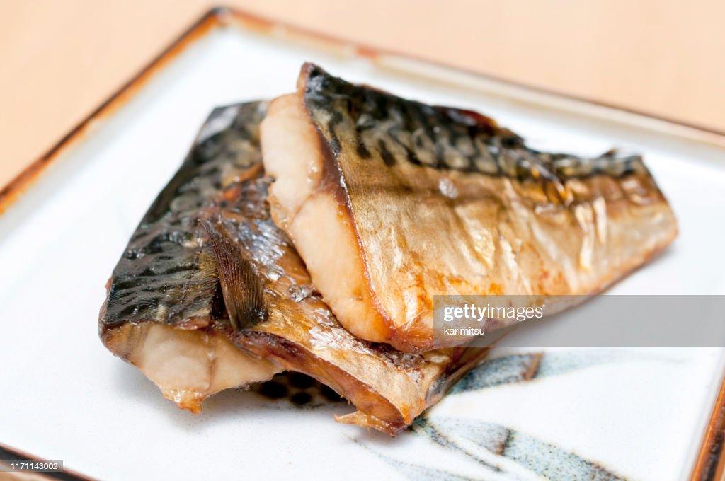 日本食、サバのしおやき、塩焼きサバ : ストックフォト