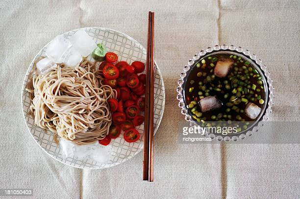 Japanese food soba noodles and cherry tomatoes