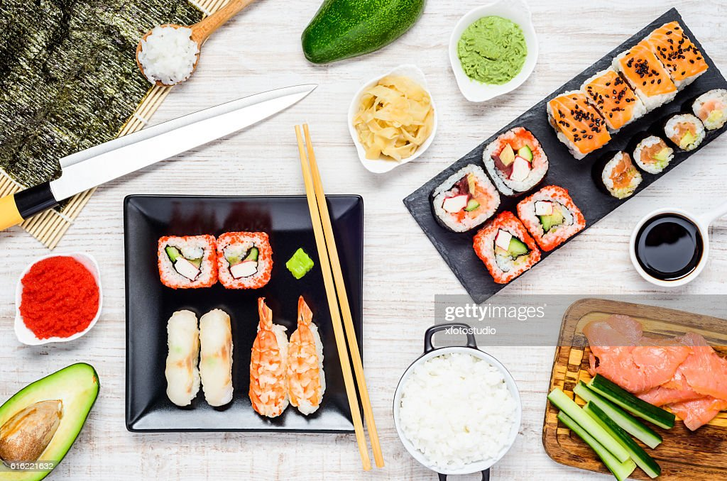 Japanese Food Sushi and Cooking Ingredients : Stock Photo