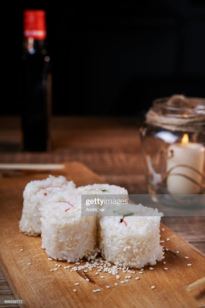 Japanese Food Sushi Roll With Crab Sesame Seeds Cucumber