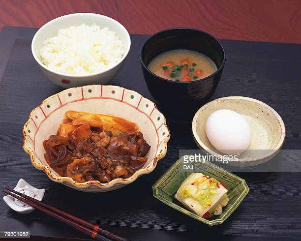 Japanese foods on table, high angle view