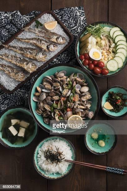 japanese foods - washoku fotografías e imágenes de stock