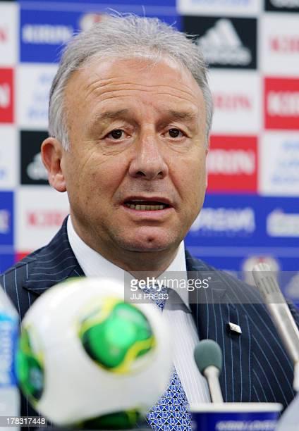 Japanese football national team's Italian head coach Alberto Zaccheroni announces the new national team members in Tokyo on August 29 2013 Zaccheroni...