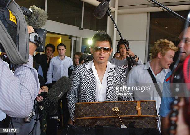Japanese footballer Kazuyoshi Miura arrives at Sydney International Airport on November 8 2005 in Sydney Australia Sydney FC have signed Kazuyoshi...