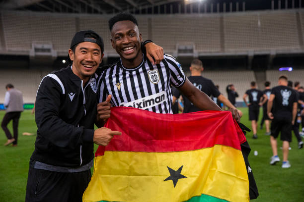 Japanese footballer Shinji Kagawa and Baba Rahman with the trophy after winning the Greek Cup with PAOK against Olympiacos at Toumba Stadium on May...
