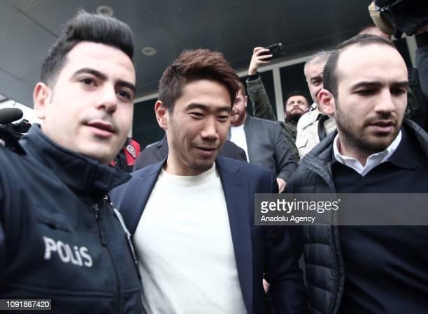 Japanese footballer Shinji Kagawa arrives in Istanbul Turkey on January 31 2019 for talks over joining Besiktas on loan from Borussia Dortmund