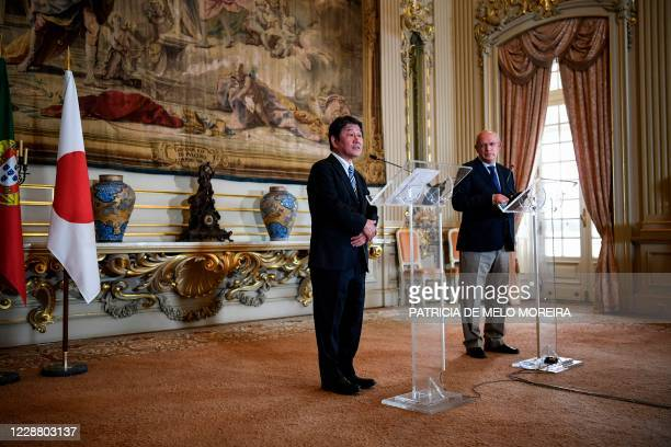 Japanese Foreign Affairs Minister Toshimitsu Motegi holds a joint press conference with his Portuguese counterpart Augusto Santos Silva at the...
