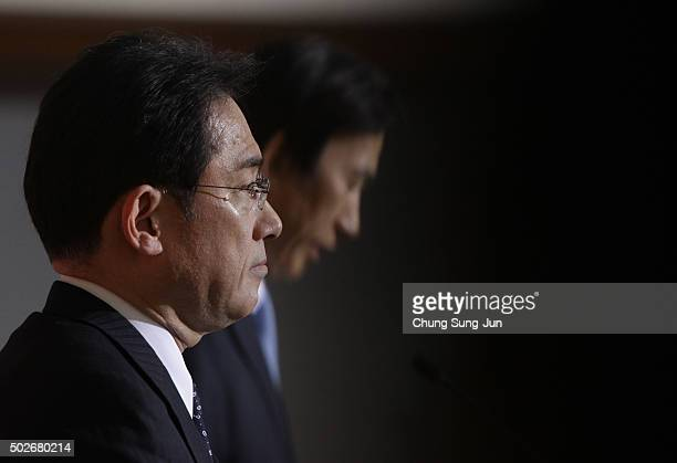 Japanese Foreign Minister Fumio Kishida attends the joint press conference with South Korean Foreign Minister Yun Byung-Se at foreign ministry on...