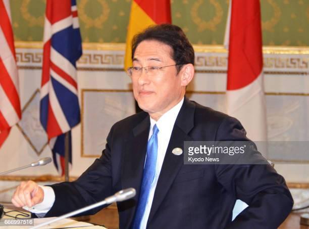 Japanese Foreign Minister Fumio Kishida meets with his counterparts from the Group of Seven advanced economies in Lucca central Italy on April 10...