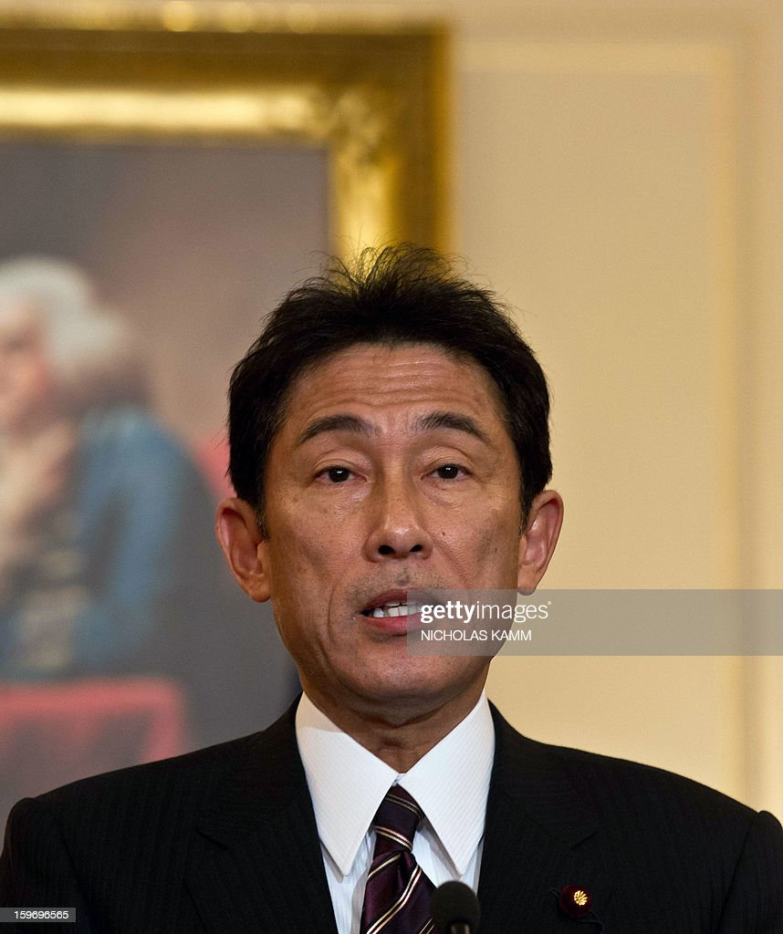 Japanese Foreign Minister Fumio Kishida speaks to the press following talks with US Secretary of State Hillary Clinton at the State Department in Washington,DC on January 18, 2013. AFP PHOTO/Nicholas KAMM