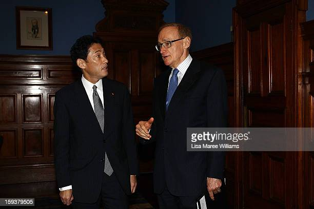 Japanese Foreign Minister Fumio Kushida and Foreign Minister Bob Carr attend a bilateral meeting at the Intercontinental Hotel on January 13 2013 in...