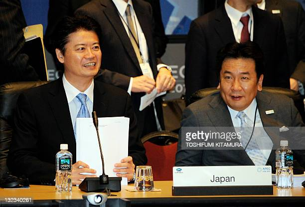Japanese Foreign Minister Koichiro Gemba and Japanese Economy, Trade and Industry Minister Yukio Edano attend the APEC Ministerial Meeting in...