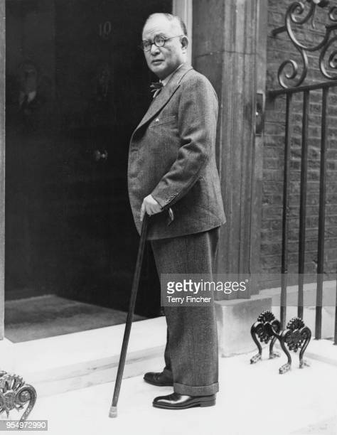 Japanese Foreign Minister Mamoru Shigemitsu arrives at 10 Downing Street in London for talks during the Suez Crisis, 17th August 1956.