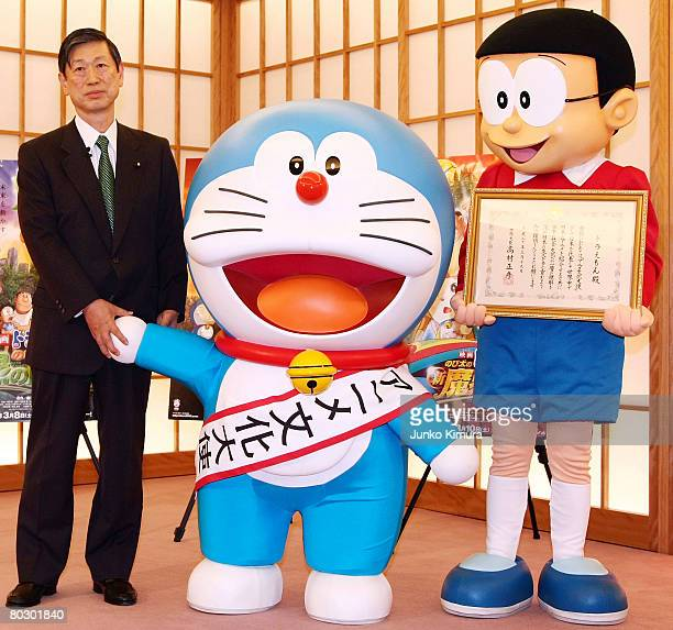 Japanese Foreign Minister Masahiko Komura Japanese popular cartoon characters Doraemon and Nobitakun attend the Anime Ambassador inauguration...