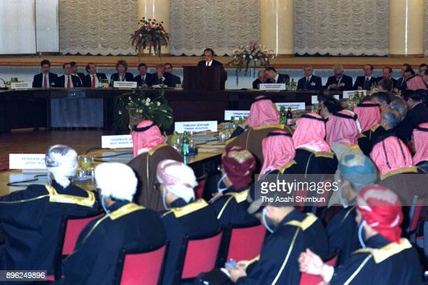 Japanese Foreign Minister Michio Watanabe addresses during a Middle East Peace Conference on January 28 1992 in Moscow Russia
