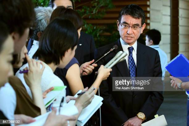 Japanese Foreign Minister speaks to media reporters after a cabinet meeting as North Korea launched a ballistic missile at prime Minister's official...