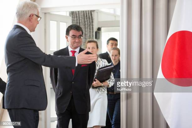 Japanese Foreign Minister Taro Kono and Polish Foreign Minister Jacek Czaputowicz before a joint press conference at College of Europe in Warsaw...