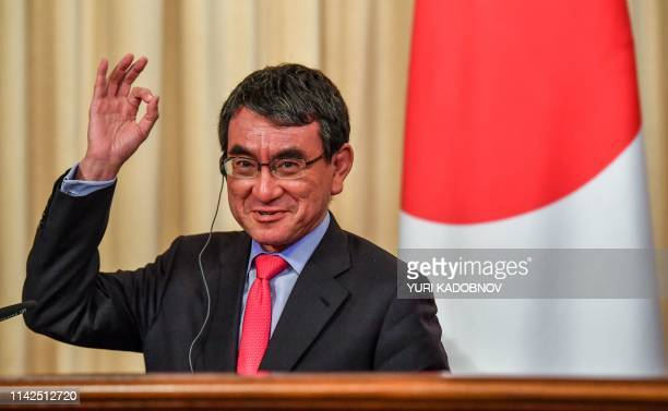Japanese Foreign Minister Taro Kono gestures during a news conference after his meeting with Russian Foreign Minister in Moscow on May 10 2019