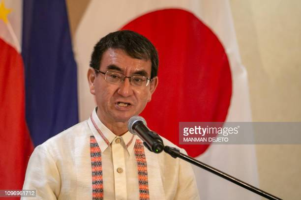 Japanese Foreign Minister Taro Kono gives a statement during an expanded bilateral meeting with the Philippines in Davao in the southern island of...