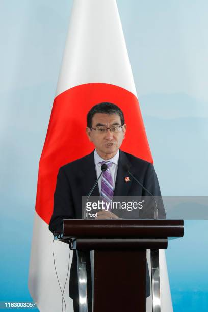 Japanese Foreign Minister Taro Kono speaks during a press conference after the ninth trilateral foreign ministers meeting among China South Korea and...