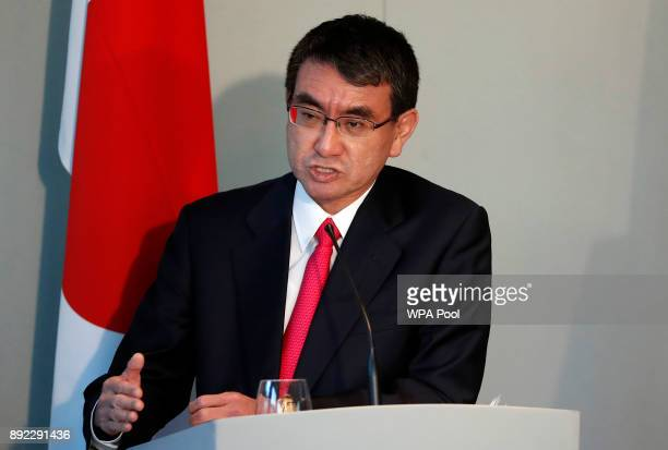 Japanese Foreign Minister Taro Kono speaks during a press conference at the National Maritime Museum on December 14 2017 in London England The...