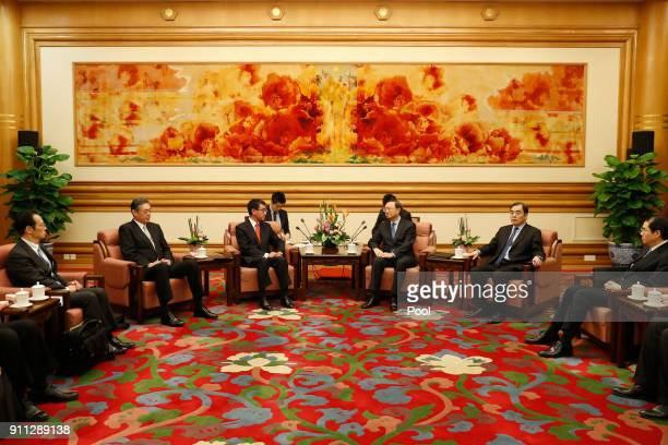 Japanese Foreign Minister Taro Kono talks to Chinese State Councilor Yang Jiechi at Zhongnanhai Leadership Compound on January 28 2018 in Beijing...