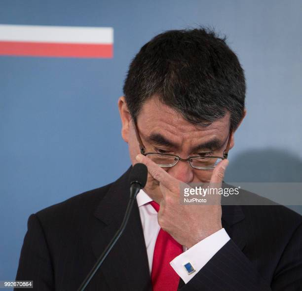 Japanese Foreign Minister Taro Kono talks to journalists during a joint press conference with Polish Foreign Minister Jacek Czaputowicz at College of...