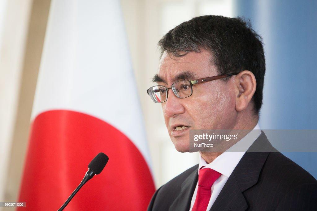 Japanese Foreign Minister Taro Kono visits Poland : News Photo