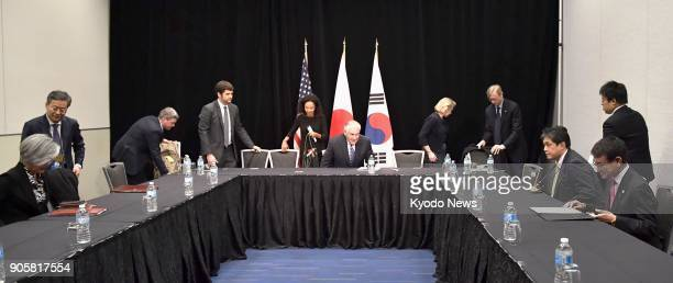 Japanese Foreign Minister Taro Kono US Secretary of State Rex Tillerson and South Korean Foreign Minister Kang Kyung Wha meet in Vancouver on Jan 16...