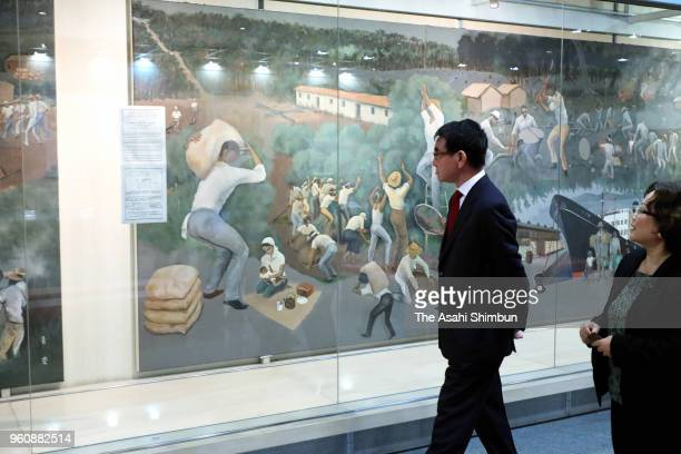 Japanese Foreign Minister Taro Kono visits the History Museum of the Japanese Immigrants to Brazil on May 19 2018 in Sao Paulo Brazil