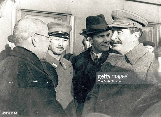 Japanese Foreign Minister Yosuke Matsuoka is seen off by Soviet Union leader Joseph Stalin after signing the document of the SovietJapan neutrality...