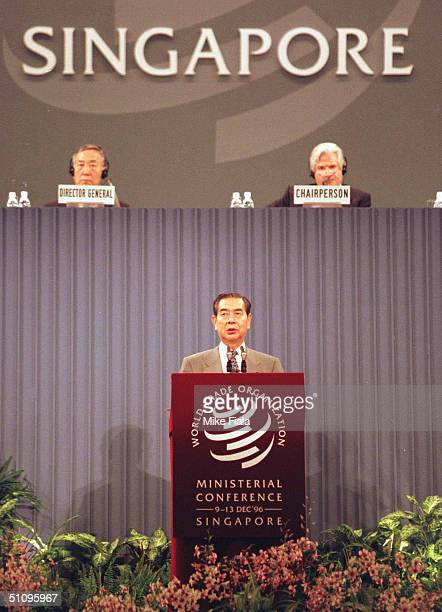 Japanese Foreign Minister Yukihiko Ikeda Addresses Delegates During The SecondDay Of The World Trade Organization Conference In Singapore Tuesday...