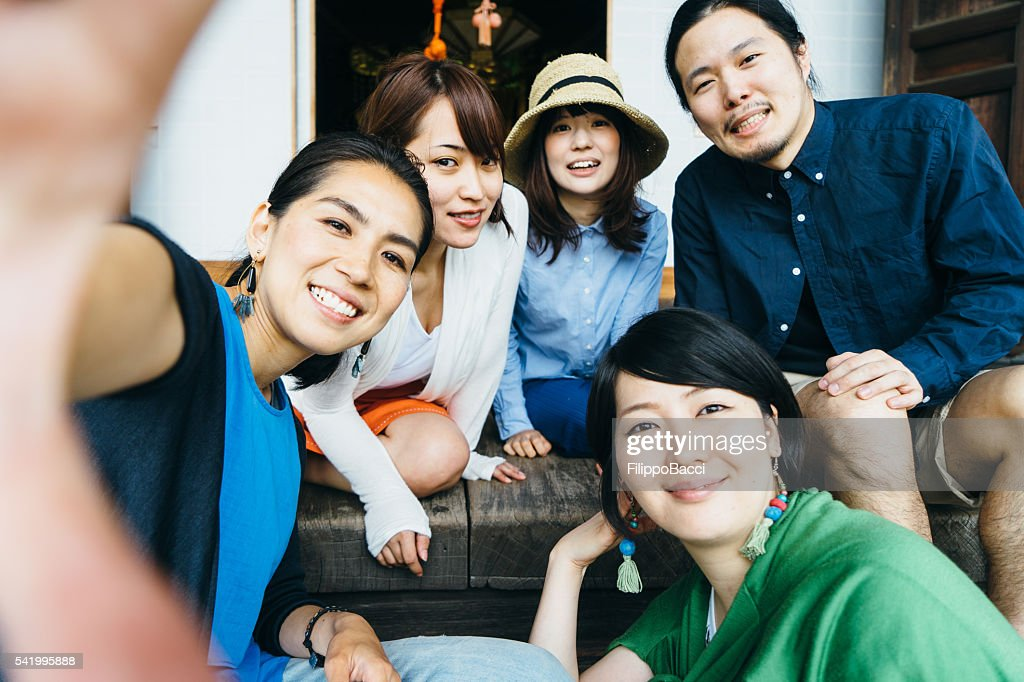 Japanese Friends Group Selfie : Stock Photo