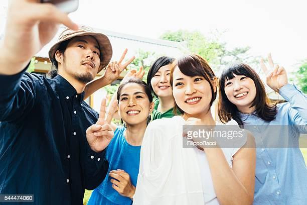 日本のご友人グループセルフィー