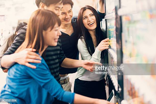 Japanese friends on a vending machine