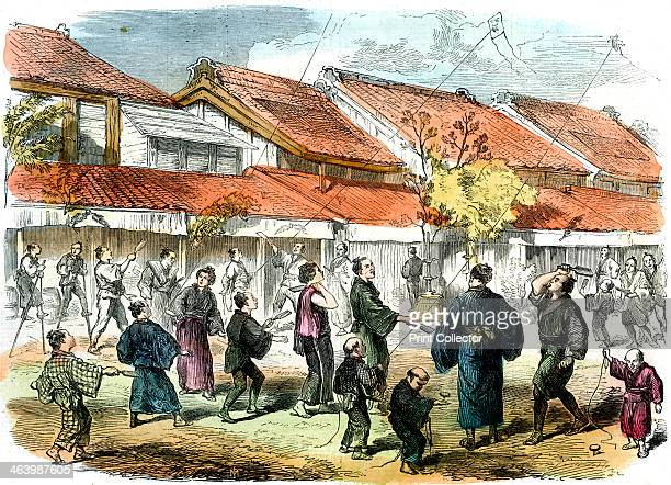 Japanese game of battledore and shuttlecock in the streets of Yokohama 1865 New Year's Day in Japan A print from The Illustrated London News 15th...