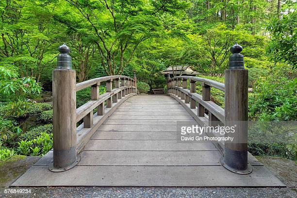 japanese garden bridge - japanese garden stock photos and pictures