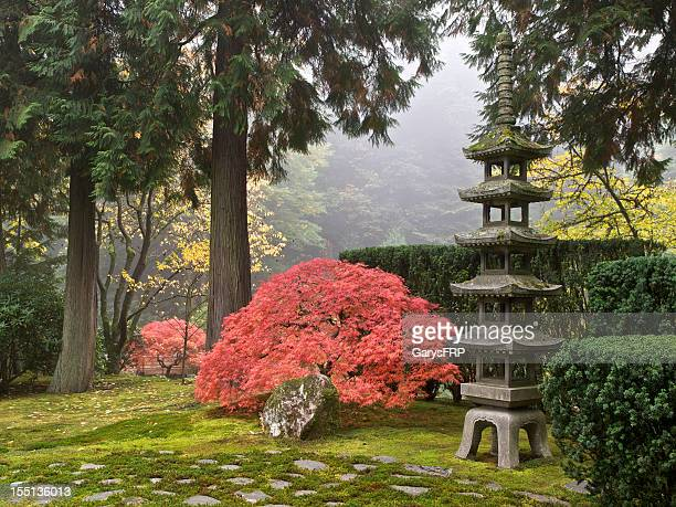japanese garden fall colors sapporo pagoda lantern portland oregon - japanese garden stock photos and pictures