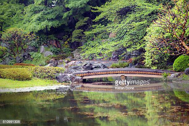 Japanese garden with footbridge at the Imperial Palace Gardens Tokyo Japan