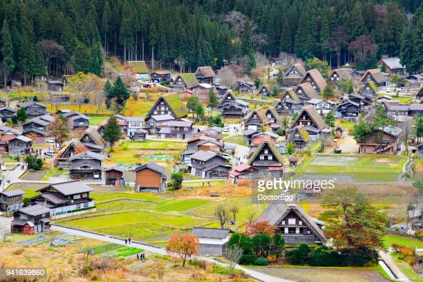 japanese gassho style farmer house at shirakawago world herritage village in autumn - takayama city stock pictures, royalty-free photos & images