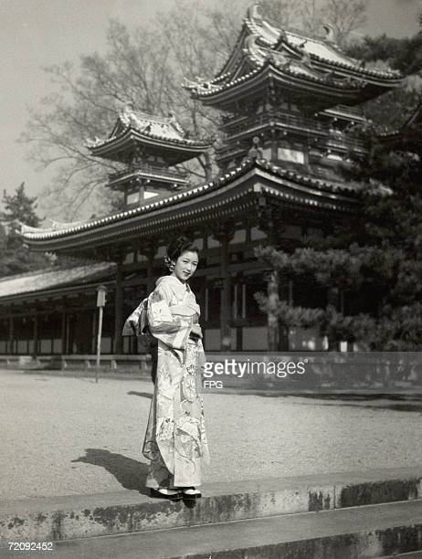 A Japanese geisha in a kimono circa 1935