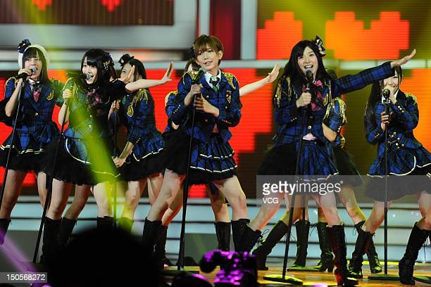 Japanese girl group AKB48 perform on the stage during the 11th CCTV-MTV Music Awards Ceremony at MasterCard Center on August 21, 2012 in Beijing,...