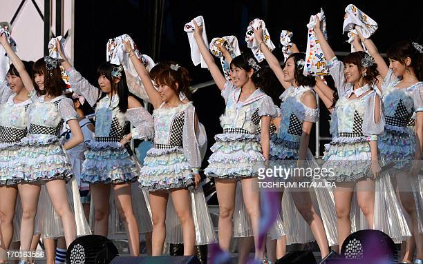Japanese girl pop group AKB48 Rena Matsui Haruka Shimazaki Rino Sashihara Minami Takahashi Mayu Watanabe Jurina Matsui Yuko Oshima and Yuki Kashiwagi...