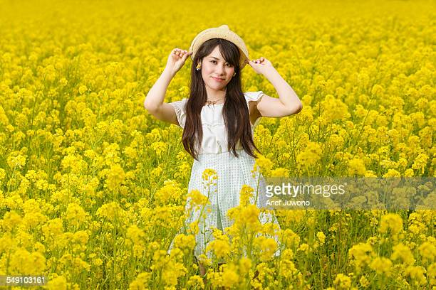 japanese girl standing in the repeseed field - beautiful japanese girls stock photos and pictures