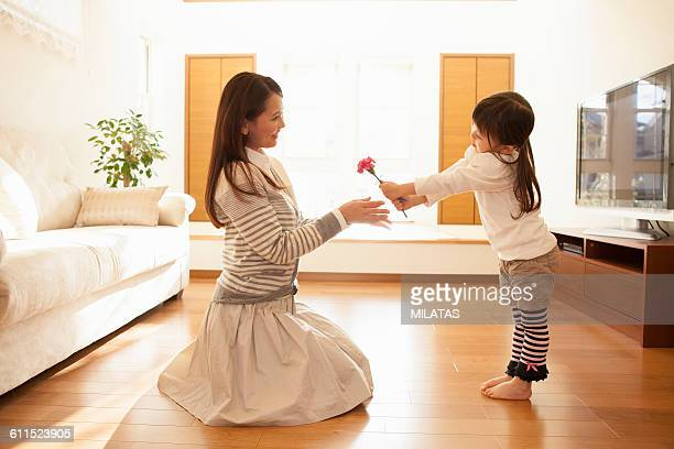 Japanese girl to present flowers