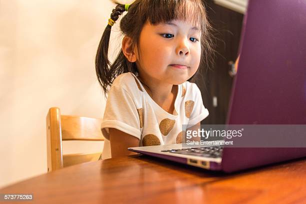 Japanese Girl using laptop for online English