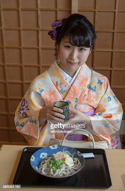 japanese girl wearing traditional kimono costume kyoto japan