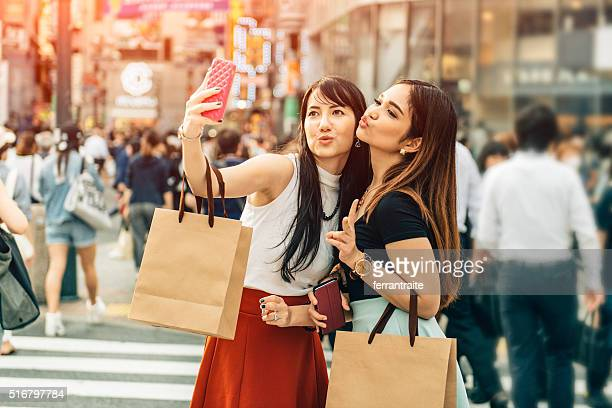 Japanese Girlfriends Shopping in Shibuya Tokyo