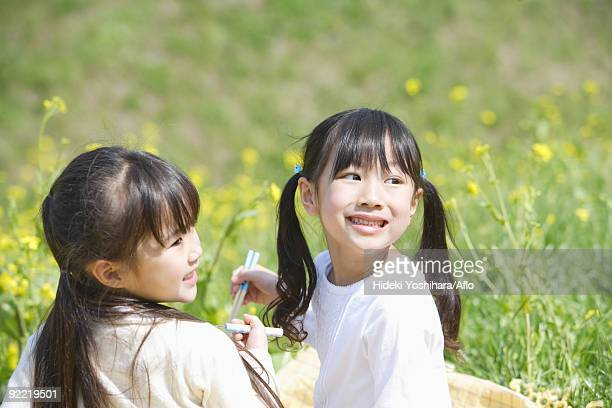 Japanese girls eating lunch together